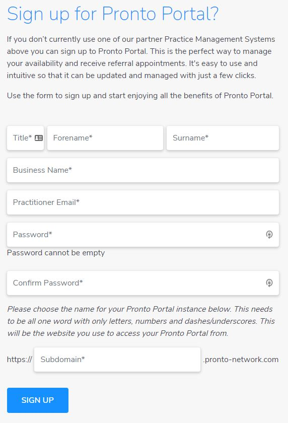 Sign up form PP